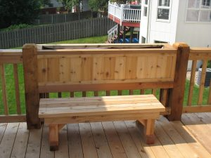 Cedar Deck Flower Box And Bench in Omaha