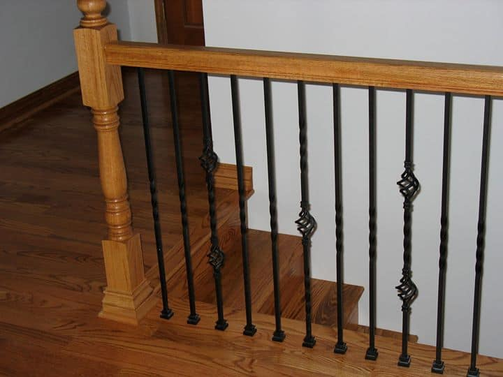 Oak Floor and Stairway with custom Iron Railing